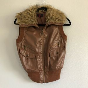 Neu Look Brown Pleather Vest Size S